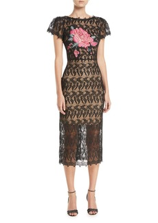 Jovani Floral-Insert Lace Dress w/ Short Sleeves
