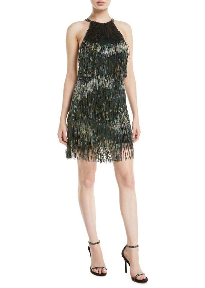 45df24699d7 Jovani Fully Beaded Fringe Halter Dress