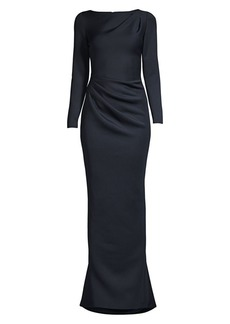 Jovani Gathered Boatneck Scuba Gown