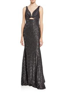 Jovani Glitter Lace V-Neck Sleeveless Front Cutout Gown