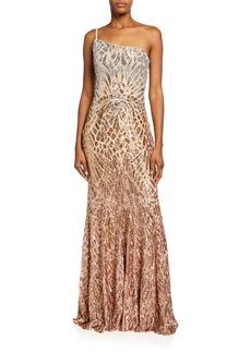Jovani Gradient Sequin One-Shoulder Column Gown