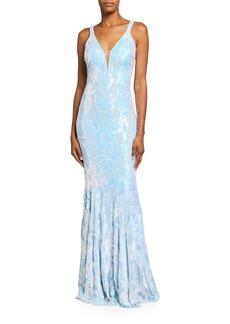 Jovani Iridescent Sequin V-Neck Sleeveless Gown