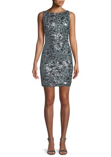 Jovani Leopard Sequin Open-Back Mini Dress