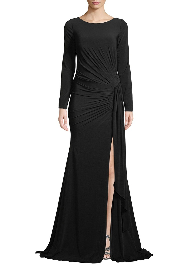 Jovani Long-Sleeve Jersey Gown w/ Ruching