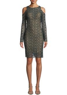 Jovani Long-Sleeve Lace Cold-Shoulder Dress