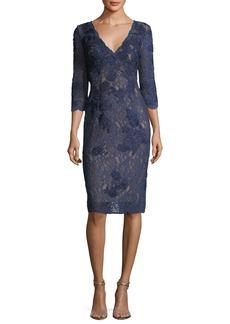 Jovani Long-Sleeve V-Neck Lace Cocktail Dress