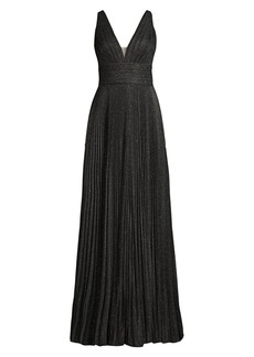 Jovani Metallic Pleated V-Neck Gown