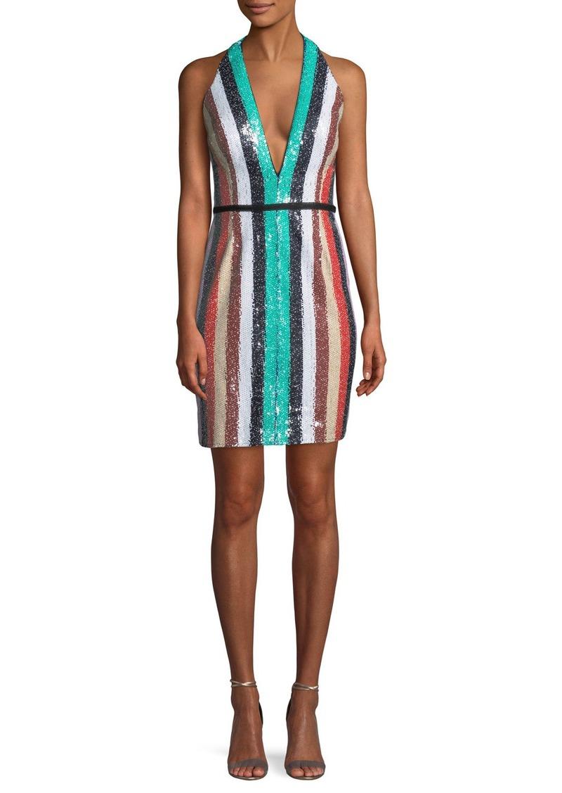 Jovani Multicolor Sequin Stripe Mini Dress