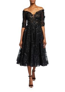 Jovani Off-the-Shoulder 1/2-Sleeve Lace Midi Dress