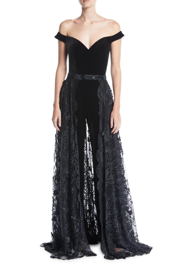 Jovani Off-the-Shoulder Velvet Jumpsuit w/ Lace Overskirt