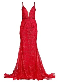 Jovani Open Back Floral Beaded Gown