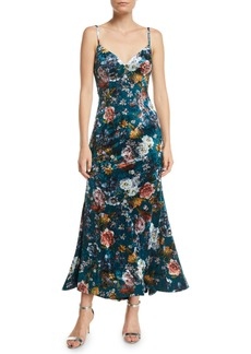 Jovani Open-Back Velvet Floral Slip Dress