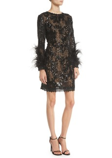 Jovani Sequin & Lace Dress w/ Feather Sleeves