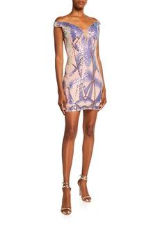 Jovani Sequin Geo-Pattern Off-Shoulder Dress