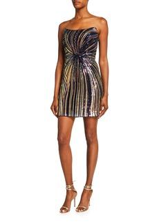 Jovani Sequin Stripe Bustier Sheath Dress