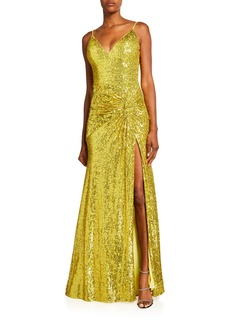 Jovani Sequin Thigh-Slit Column Gown