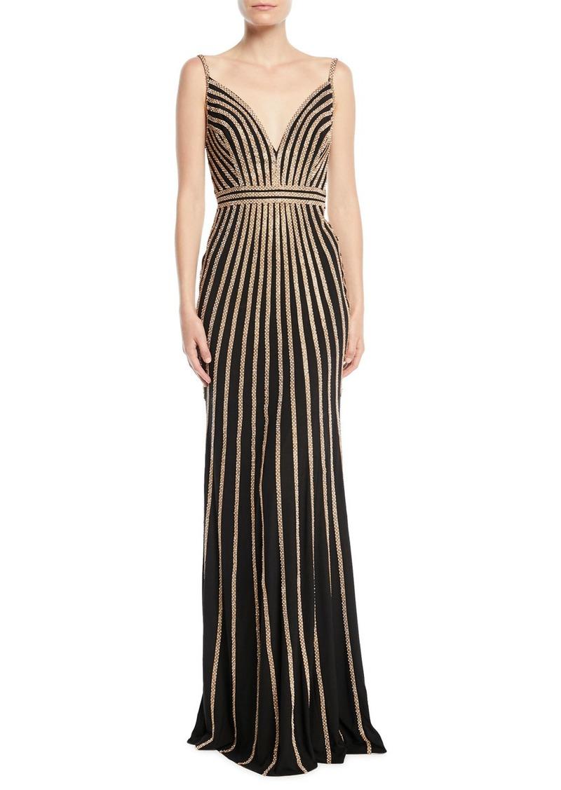 Jovani Sleeveless Gown w/ Beaded Stripes
