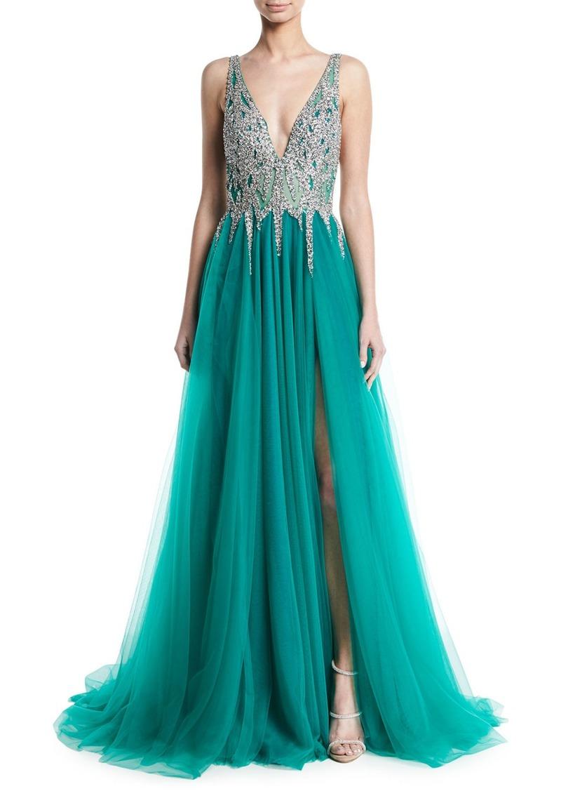Jovani Sleeveless High-Slit Embellished Bodice Evening Gown