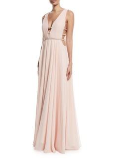 Jovani Sleeveless V-Neck Gown w/ Lattice Details