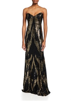 Jovani Strapless Sequined Floor-Length Gown