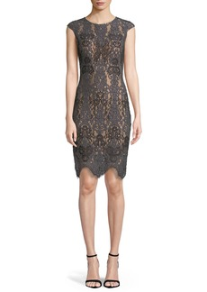 Jovani Stretch Lace Cap-Sleeve Dress w/ Scalloped Hem