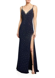Jovani V-Neck Beaded Gown w/ Thigh Slit