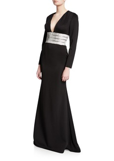 Jovani V-Neck Long-Sleeve Gown with Beaded Belt