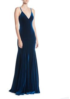 Jovani V-Neck Thin-Strap Low-Back Velvet Evening Gown