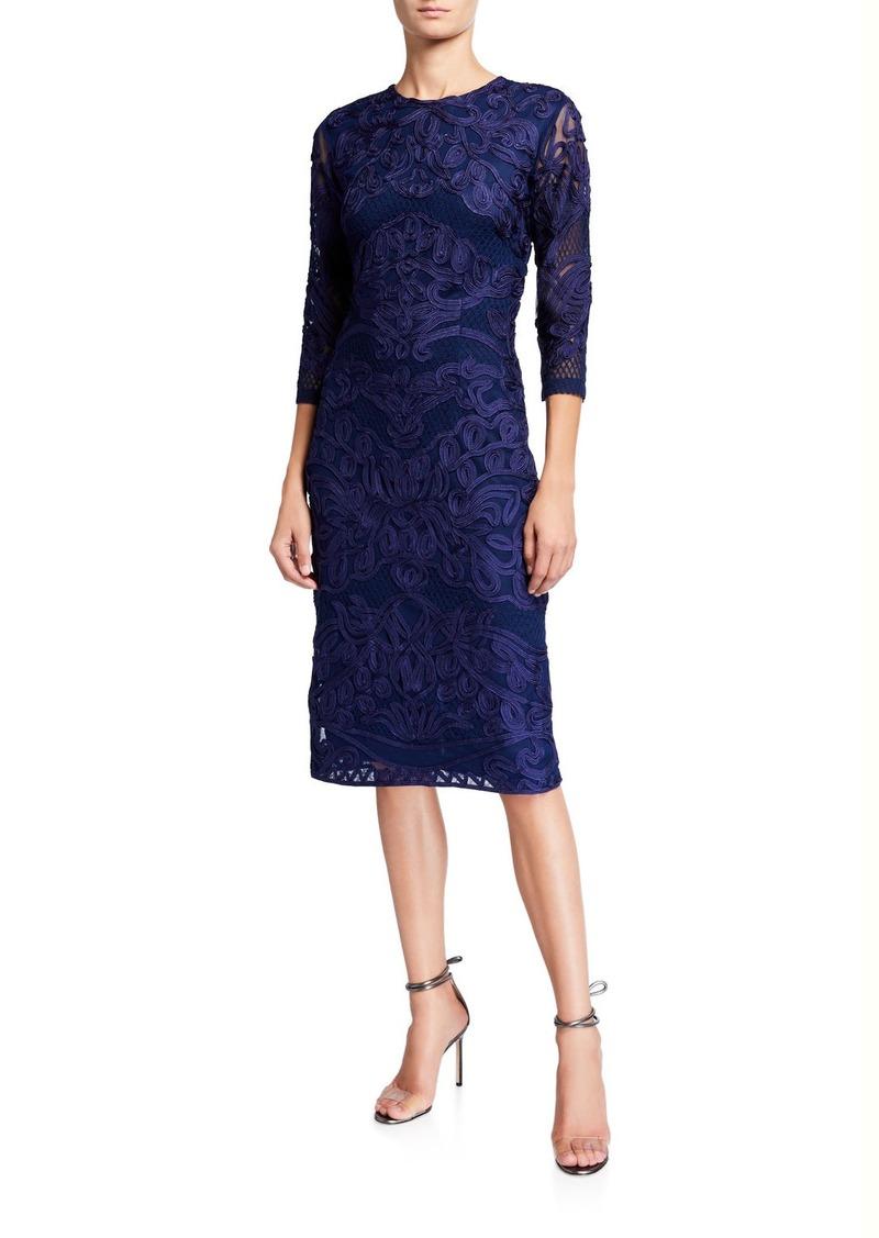 JS Collections 3/4-Sleeve Soutache Mesh Dress