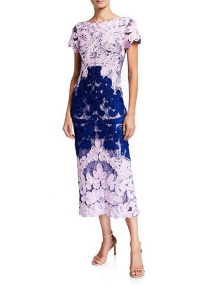 JS Collections Boat-Neck Short-Sleeve Two-Tone Embroidered Soutache Midi Dress
