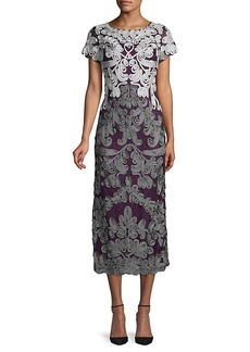 JS Collections Boatneck Embroidered Midi Dress
