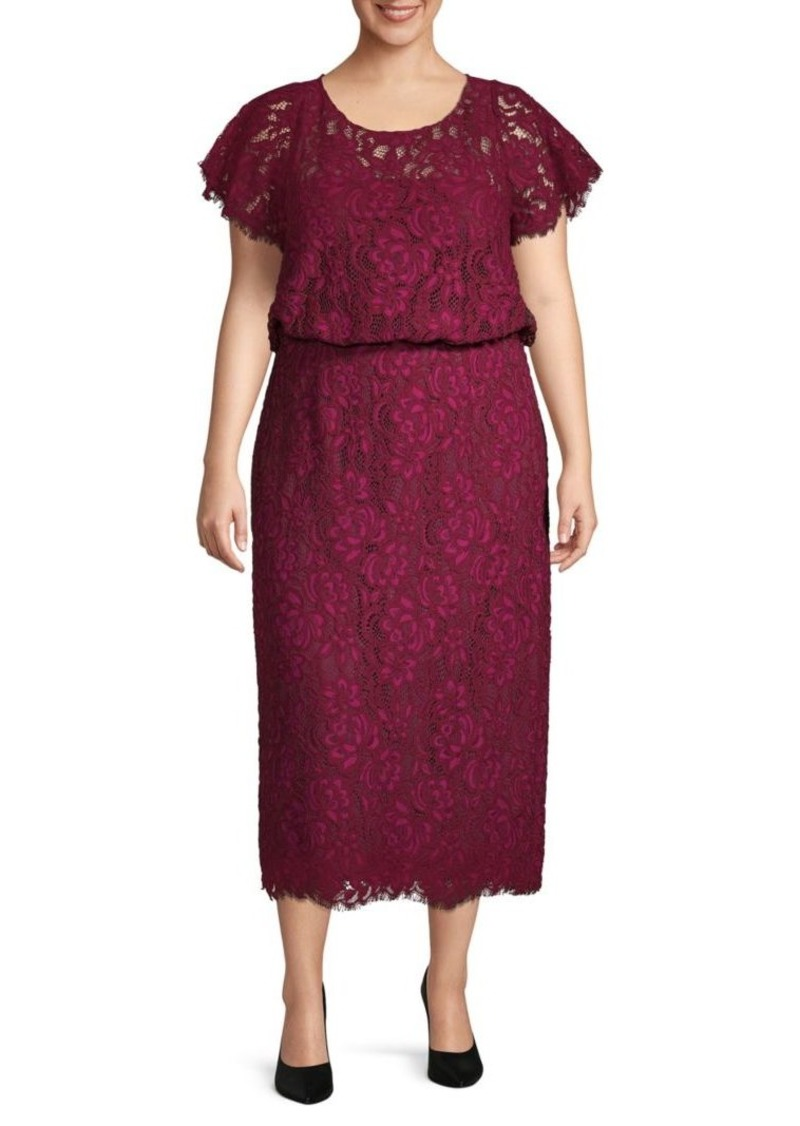 JS Collections Plus Embroidered Cotton Blend Blouson Dress