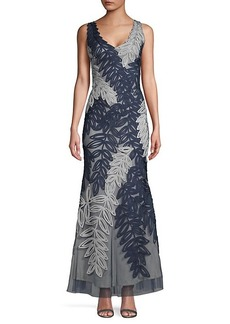 JS Collections Embroidered V-Neck Gown