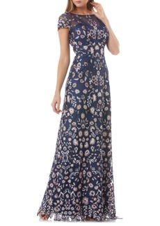 JS Collections Floral Embroidered Gown
