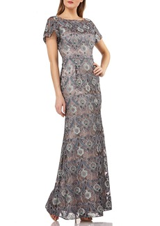 JS Collections JS Collection Embroidered Overlay Illusion Lace Evening Dress