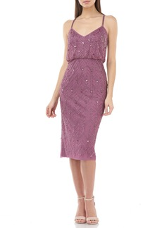 JS Collections Beaded Leaf Blouson Cocktail Dress