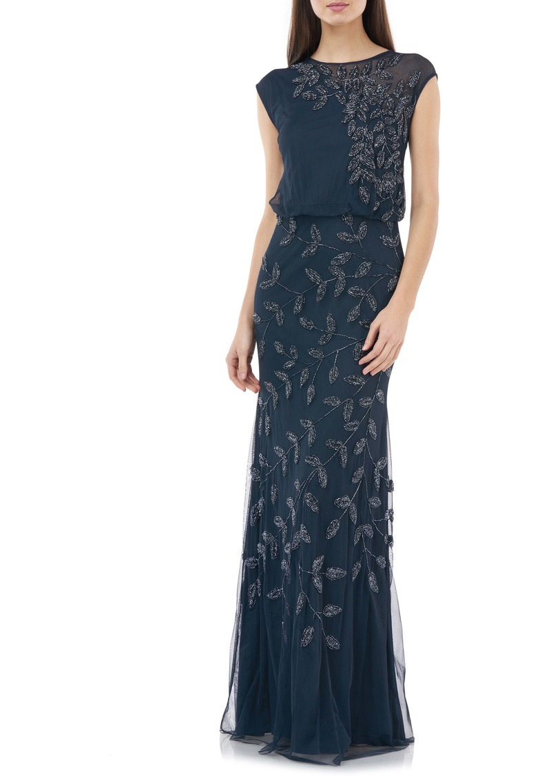 JS Collections Beaded Leaf Chiffon Trumpet Gown