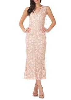 JS Collections Beaded V-Neck Midi Dress