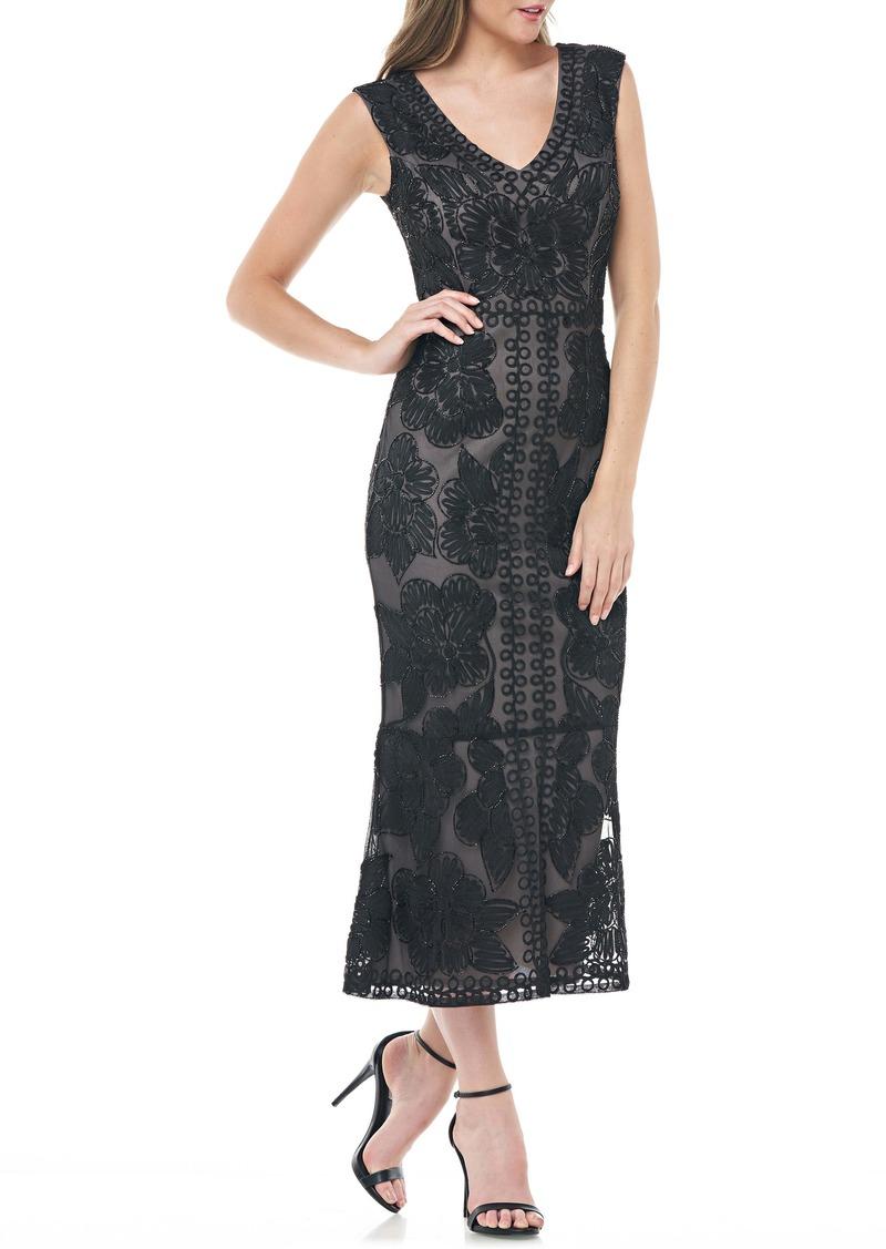 JS Collections Beaded V-Neck Tea Length Dress
