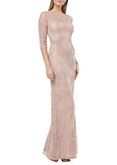 JS Collections Embellished Three-Quarter Sleeve Gown