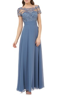 JS Collections Embroidered A-Line Gown