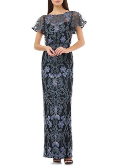 JS Collections Illusion Embroidered Blouson Evening Gown