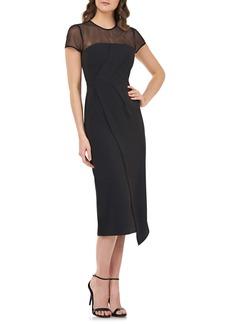 JS Collections Illusion Yoke Asymmetrical Cocktail Dress