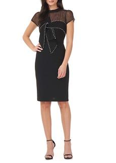 JS Collections Imitation Pearl Detail Illusion Lace Yoke Sheath Cocktail Dress