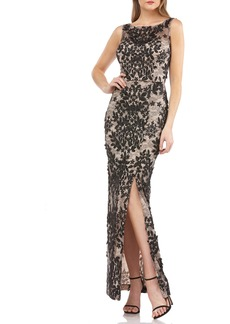JS Collections Leaf Embroidered Gown