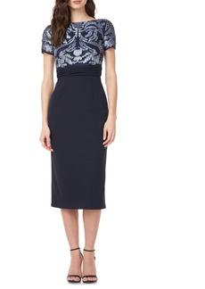 JS Collections Mixed Media Midi Dress