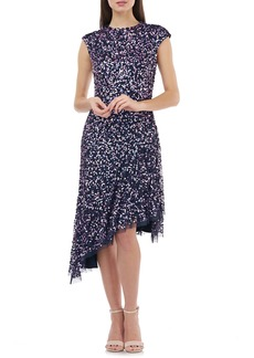 JS Collections Multicolor Sequin Asymmetrical Cocktail Dress