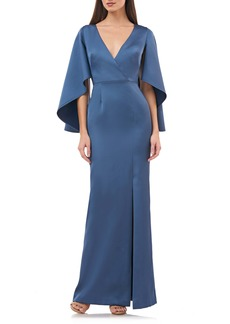 JS Collections Satin Crepe Trumpet Gown