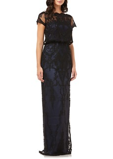 JS Collections Scallop Embroidered Blouson Evening Dress