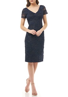 JS Collections Soutache Embroidered V-Neck Cocktail Dress